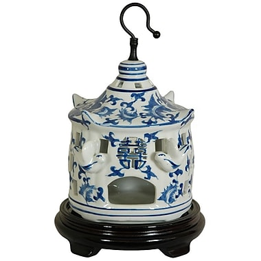 Oriental Furniture Bird Cage w/ Blue Floral Design in White