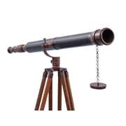 Handcrafted Nautical Decor Floor Standing Galileo Refracting Telescope; All Bronze