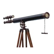 Handcrafted Nautical Decor Griffith Astro Refractor Telescope; Bronze / Leather Black