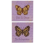 Blossom Bucket 2 Piece Butterfly Purple Box Signs Wall Decor Set