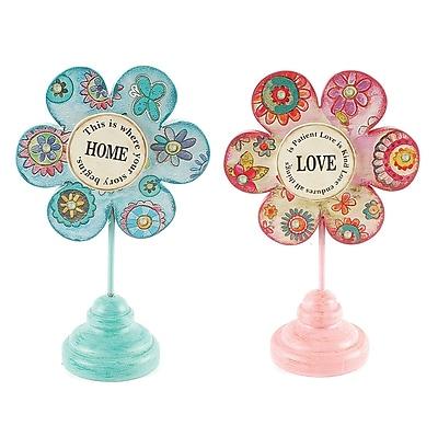 Blossom Bucket 2 Piece Decorative Love/Home Tabletop Flowers Set