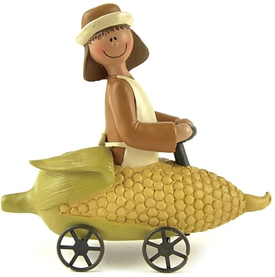 Blossom Bucket Girl Pilgrim On Corn Cart Figurine