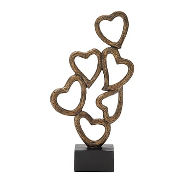 Cole & Grey Polystone Heart Table Sculpture