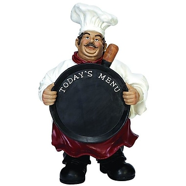 Cole & Grey Polystone Wood Chef Chalkboard Figurine