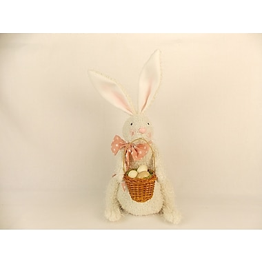 Craft Outlet Fabric Bunny Holding Basket Figurine