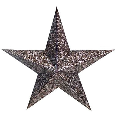 Craft Outlet Tin Engraved Star Decorative Slate; Black/Gray