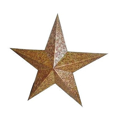 Craft Outlet Engraved Tin Star; Gold/Orange