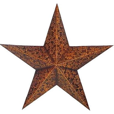 Craft Outlet Tin Engraved Star Decorative Slate; Rustic/Gold
