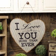 American Mercantile ''I Love You More'' Metal Hanging Corrugated Heart Wall D cor