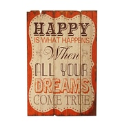 American Mercantile 'Happy' Wood Sign Wall D cor