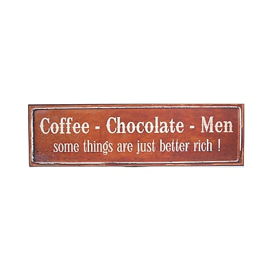 American Mercantile Metal 'Coffee, Chocolate, Men' Sign Wall Decor