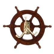Cole & Grey Mesmerizing Metal and Wood Ship Wheel Hook Wall D cor