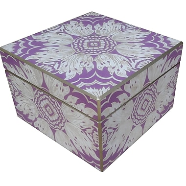 Arcadia Home Decorative Reverse Painted Mirror Box; Lavender