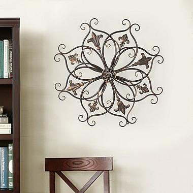 AdecoTrading Decorative Round Fleur-de-Lis Starburst Iron Widget Wall Decor