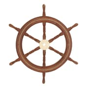 Cole & Grey Wood and Brass Ship Wheel Sculpture