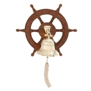 Cole & Grey Wood and Brass Ship Wheel Bell Sculpture