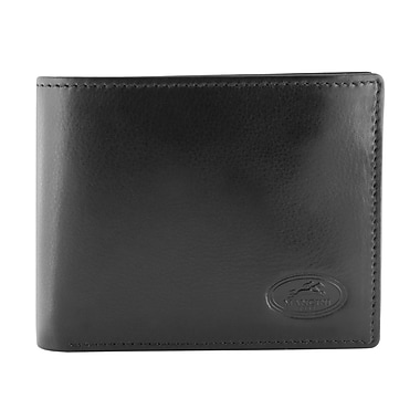 Mancini Manchester Collection Black Leather RFID Secure Men's Wallet With Coin Pocket (2010135-BLACK)