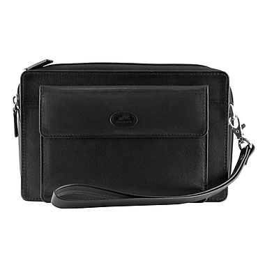 Mancini Manchester Collection Black Leather Compact Unisex Bag (2010120-BLACK)