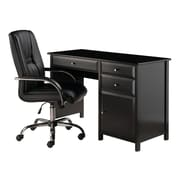 Winsome Delta 2-Piece Office Set, Desk with High Back Chair, Black (22233)
