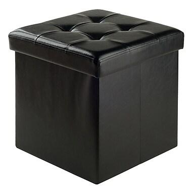 Winsome - Pouf Ashford 15 po x 15 po avec espace de rangement, similicuir