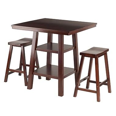 Winsome – Ensemble de table élevée Orlando, 3 pièces, 2 tabourets à siège formé en selle, noyer (94308)