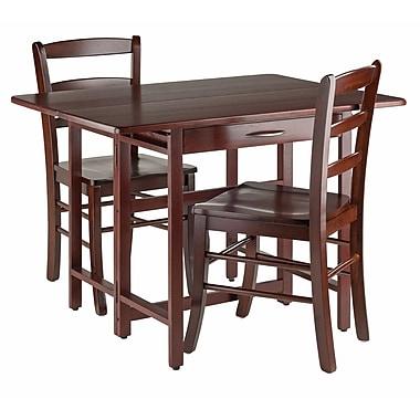 Winsome – Ensemble de table à abattant Taylor 3 pièces, 2 chaises à dossier en échelle, noyer (94353)