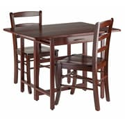 Winsome Taylor 3-Piece Drop Leaf Table Set, 2 Ladder Back Chairs, Walnut (94353)
