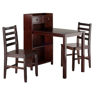 Winsome – Ensemble de table et armoire Tyler 3 pièces, 2 chaises à dossier en échelle, noyer (94365)