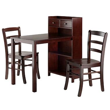 Winsome – Ensemble de table et armoire Tyler 3 pièces, 2 chaises à dossier en échelle, noyer (94377)