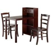 Winsome Tyler 3-Piece Table & Storage Set, 2 Ladder Back Charis, Walnut (94377)