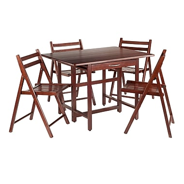 Winsome Taylor 5-Piece Drop Leaf Table Set, 4 Folding Chairs, Walnut (94557)