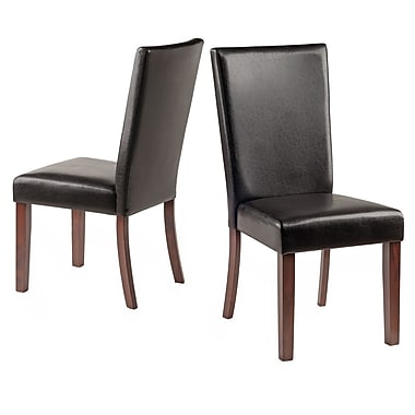 Winsome – Chaises Johnson, capitonnage similicuir, espresso, paq./2 (94237)