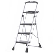 Cosco Three Step Max Steel Work Platform Ladder, Black/Silver