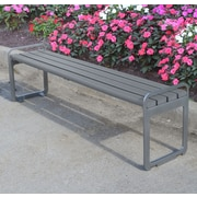 Frog Furnishings Plaza Backless Steel Picnic Bench; Redwood
