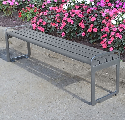 Frog Furnishings Plaza Backless Steel Picnic Bench; Gray