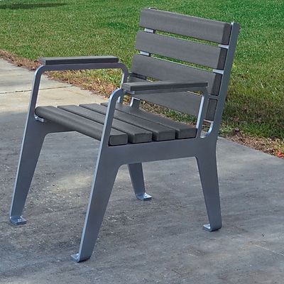 Frog Furnishings Plaza Patio Dining Chair; Gray