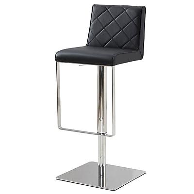 Casabianca Furniture Loft Adjustable Height Bar Stool; Black