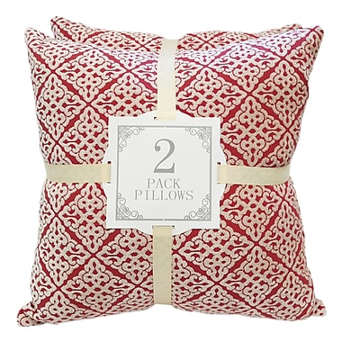Kingray Home Textile Chenille Jacquard Throw Pillow (Set of 2); Red