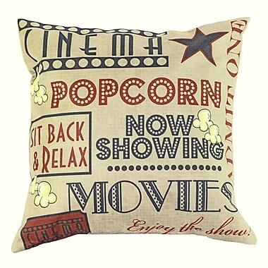 Lillowz Movie and Popcorn 100pct Cotton Throw Pillow