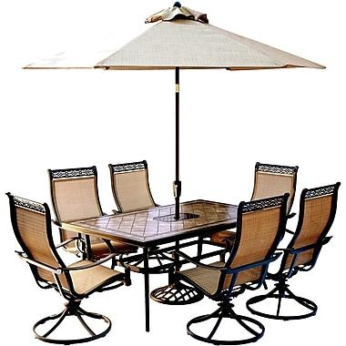 Hanover Monaco 7 Piece Dining Set w/ Table Umbrella and Umbrella Stand