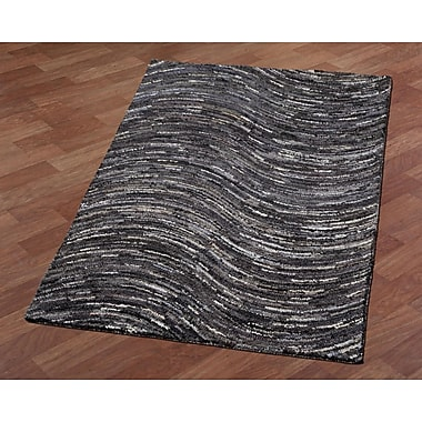 St. Croix Brilliant Ribbon Wave Hand-Tufted Gray/Black Area Rug; 8' x 10'