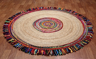 St. Croix Brilliant Ribbon Round Racetrack Hand-Loomed Yellow/Red Area Rug; Round 3'