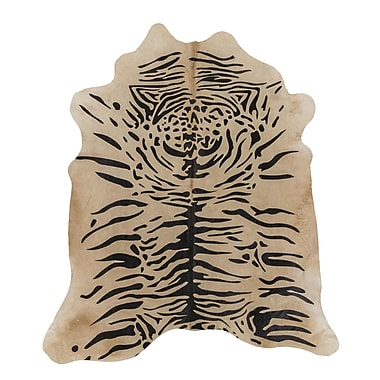 Rodeo Tiger Print Cowhide Hand-Woven Brown Area Rug