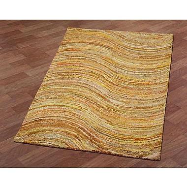 St. Croix Brilliant Ribbon Wave Hand-Tufted Yellow Area Rug; 5' x 8'