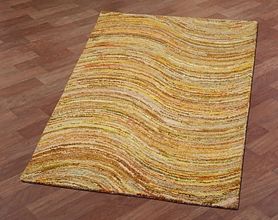 St. Croix Brilliant Ribbon Wave Hand-Tufted Yellow Area Rug; 4' x 6'