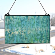 River of Goods Single Pane Stained Glass Window Panel; Mottled Blue