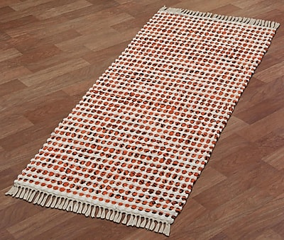 St. Croix Complex Hand-Loomed Orange Area Rug; Runner 2' x 5'