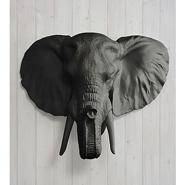 Wall Charmers Savannah Faux Taxidermy Elephant Head Wall D cor; Black