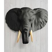 Wall Charmers Savannah Faux Taxidermy Elephant Head Wall D cor; Black/Gold
