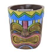 Exhart Solar Tiki Resin Pot Planter
